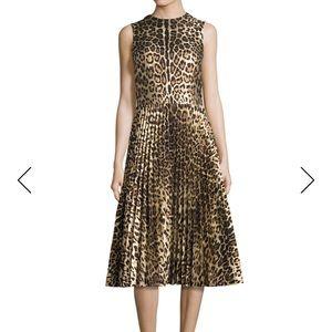 New Red Valentino Sleeveless Leopard Pleated Dress
